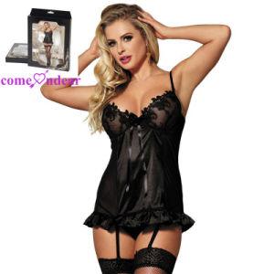 13568fbe9 Preto estilo europeu Plus Size lingerie sexy Senhoras transparente