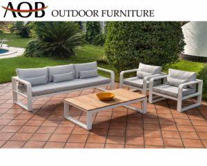 El chino moderno jardín Casa patio de juegos de salón Muebles de aluminio de sofá con mesa de madera de teca