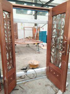 Vidro de Guangzhou Projetado Padrão floral porta de cobre por porta de segurança à mão