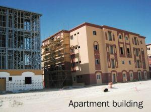 Edificio de la estructura de acero para el apartamento