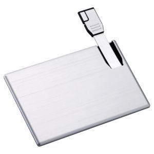 Сдвинув металлические Business Card USB Flash накопитель с логотипом OEM (E097)