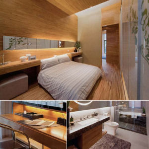 Hotel de diseño moderno juego de dormitorio muebles (EMT-SKA04)