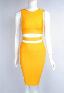 Ropa de moda vestido de gasa de color naranja cintura hueco desgaste diario damas vestido vendaje vestidos vestidos cortos