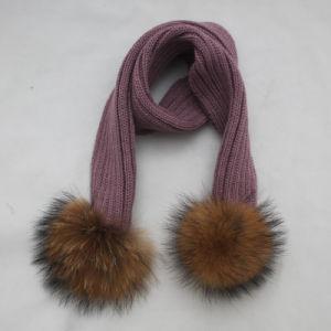 毛皮のポンポンの卸売が付いている方法女性の冬によって編まれるスカーフ