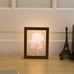 3D錯覚夜ライトLED木フレームのシカヘッドLEDsか寝室のホーム装飾の照明RGB可変性カラー子供の誕生日のクリスマスのギフトのための花または中心の卓上スタンド