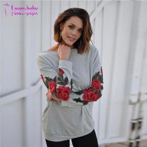 Col rond Floral ordinaire à manchon long pull Sweat-shirt à capuche
