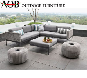 Hospitalidade moderna chinesa pátio jardim exterior Home Sala de móveis de vime Vime Lounge apresenta mobiliário de sofá com fezes Contemporâneo