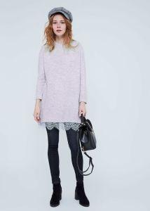 Les femmes Plain Knitting pullover avec dentelle