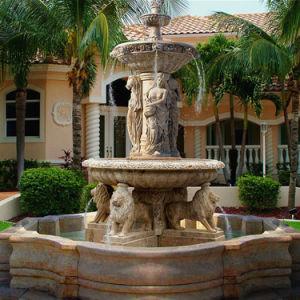 Jardim decoração exterior Chafariz de pedra mármore com cabeça de leão
