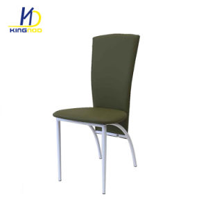 직사각형 둥근 크롬 다리를 가진 의자를 식사하는 싼 현대 연약한 PU 가죽