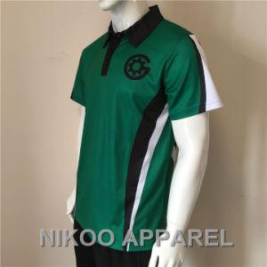 ロゴのカスタム昇華印刷の緑のポロのTシャツが付いているエリートのポロシャツ