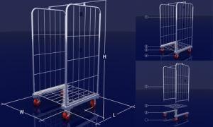 Depósito de supermercado galvanizado Fio Dobrável Roll cage do contêiner