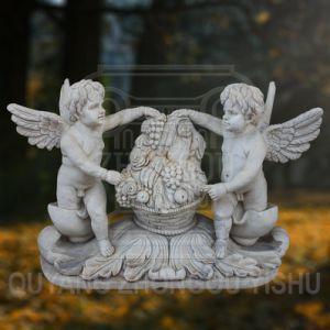 een paar Marmeren Steen Gesneden Beeldhouwwerken van de Engel kan voor de Decoratie van de Tuin worden gebruikt