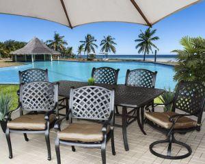 Patio jard n mobiliario de aluminio fundido 7pcs coj n for Mobiliario de patio