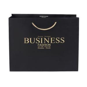 El logo impreso hecho personalizado bolsas de papel de regalo negro mate