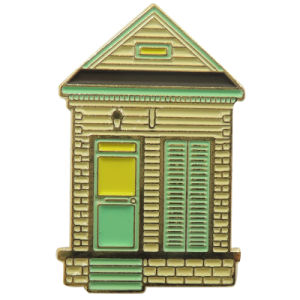昇進のための金属の家の形の金の折りえりピン