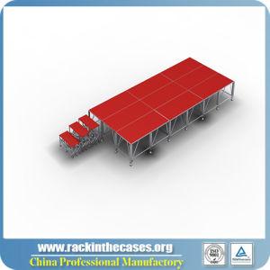 販売のための赤いプラットホームが付いている携帯用段階装置のアルミニウム段階