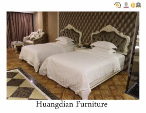Estilo Francés, dos camas tamaño Queen Hotel conjuntos de muebles de dormitorio (HD036)