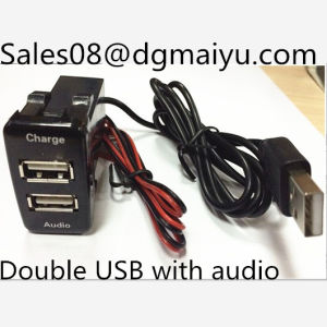 Двойной 2.1A автомобильного прикуривателя USB зарядное устройство для Toyota - черный