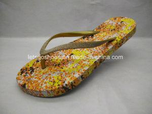 PE/EVA/caoutchouc Lady sandale Flip Flop avec l'impression (22FL909)
