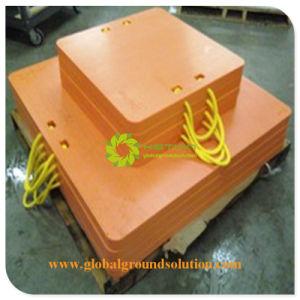 De gele HDPE Steun van het Lager van de Voet van de Kraan vult het Stootkussen van de Kraanbalk van de Vrachtwagen van het Polyethyleen op