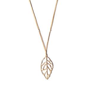 Form-Schmucksache-Legierungs-Blatt-hängende lederne Halskette