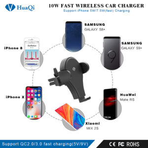 iPhoneまたはSamsungのための新しいHot Sale RotatableチーQuick Wireless Car Charging HolderかMount/Power Port/Pad/Station/Charger