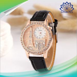 パリ有名なタワーの女性のための水晶水晶腕時計の革腕時計