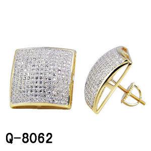 Il diamante placcato oro dei monili 14 K di modo dell'argento sterlina degli uomini all'ingrosso di Hip Hop ha ghiacciato fuori gli orecchini della vite prigioniera