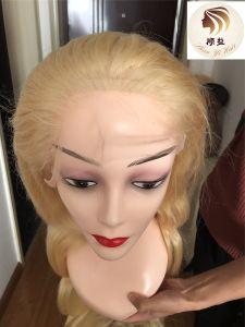 Customized loira Virgem brasileira da onda do corpo de cor de cabelo humano 40 Polegadas Peruca Lace completo com a linha natural do cabelo