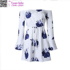 Off imprimé floral de l'épaule robe de vacances à cordonnet L28237