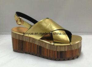 Lady Chaussure en cuir véritable bois épais avec semelle en caoutchouc du grain de la Femme Sandales