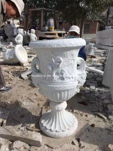 庭のための庭のためのカラーラWhite Marble Flower PotかMarble Sculpture
