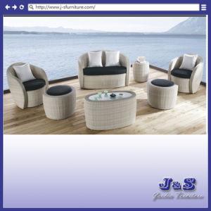 屋外のテラスのPEの柳細工の部門別のソファーセット、庭の藤の家具(J179)