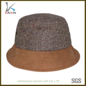 カスタムブラウンの明白なブランク安い麻のバケツの帽子の帽子