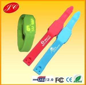 Fashional Creative Rechargeable Mutifunction 4G USB Flash Disk LED Watch、Silicone Watch USB Flash Drive (JC-113)