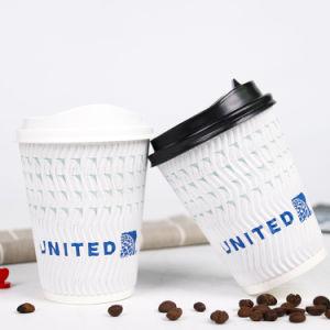 8oz 뚜껑을%s 가진 경이로운 주문을 받아서 만들어진 처분할 수 있는 Singel 또는 두 배 또는 잔물결 벽 최신 찬 마시는 커피 종이컵