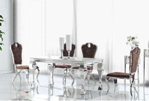 La moderna mesa de comedor mesa de comedor y sillas y mesa de juegos de silla de acero inoxidable