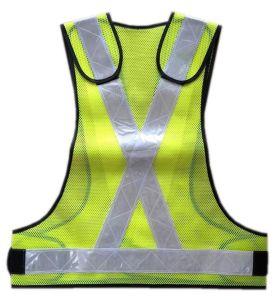 100% poliéster Chaleco de malla con PVC cinta reflectante