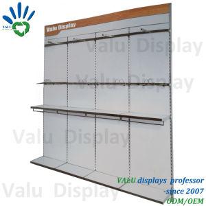 MDF 단화 상점 실내 디자인을%s 목제 철 벽 마운트 단화 전시 선반