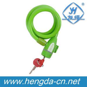 Yh1369 Le câble de verrouillage de vélo vert spiralé moto avec les touches de verrouillage
