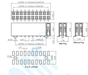 Ficha de preço competitivo 2.54 Terminal Pitch-U H 8,5 mm fêmea SMT a Plataforma