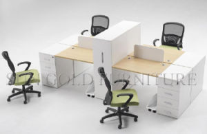 Elegante estación de trabajo de oficina de partición de madera para 4 personas (SZ-WST835)