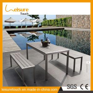 Novo estilo jardim simples Mobiliário de exterior em alumínio Cadeira Polywood Wiredrawing Conjunto de mesa