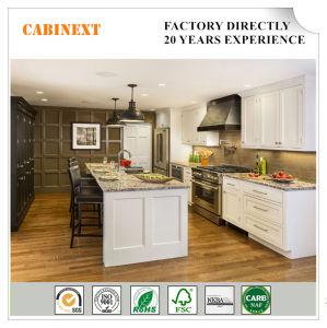 Estilo moderno de América de la fábrica de madera maciza de agitador blanco gabinetes de cocina
