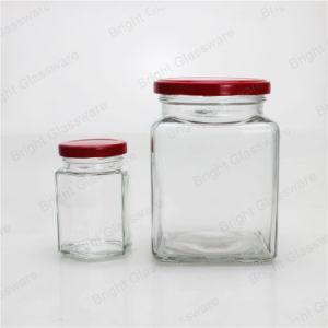 [هيغقوليتي] سداسيّة زجاجيّة عسل مرطبان مع معدن غطاء
