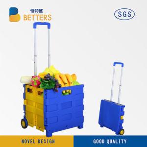 Rollender faltbarer Einkaufswagen-Plastikeinkaufskorb