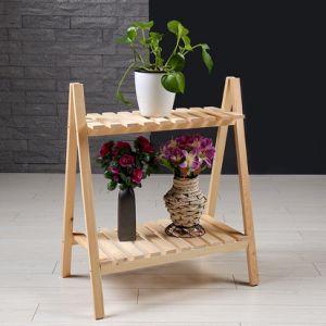 Estante de visualización plegable de flor del crisol del soporte de bambú del estante