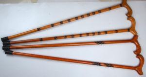 Exteriores de madera tallada a mano Bastón de caña/