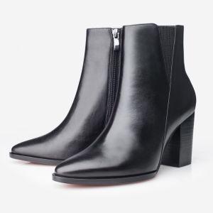Nueva moda negro Chelsea Botas de cuero para la Mujer (ABS) suela exterior.